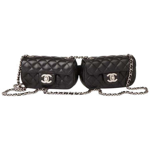 Chanel Side Pack Classic Flap 2.55 Reissue Rare Limited Edition Double Twin Micro Mini Black Lambskin Leather Cross Body Bag