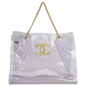 Chanel Rare Vintage 1990s Xxxl Oversized See Through Naked Gold Accent Pvc Tote