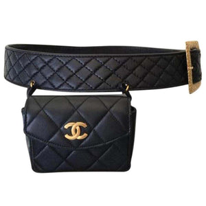 Chanel Belt Bag Rare Vintage 90s Mini Fanny Pack Waist Black Leather Baguette