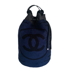 Chanel Dark Navy Blue Striped Beach Bag Drawstring Backpack