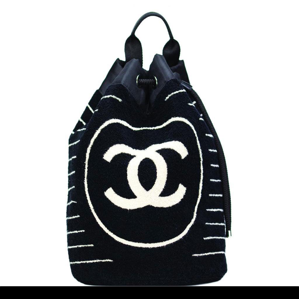 Chanel DarkBlue Striped Beach Bag Drawstring Backpack