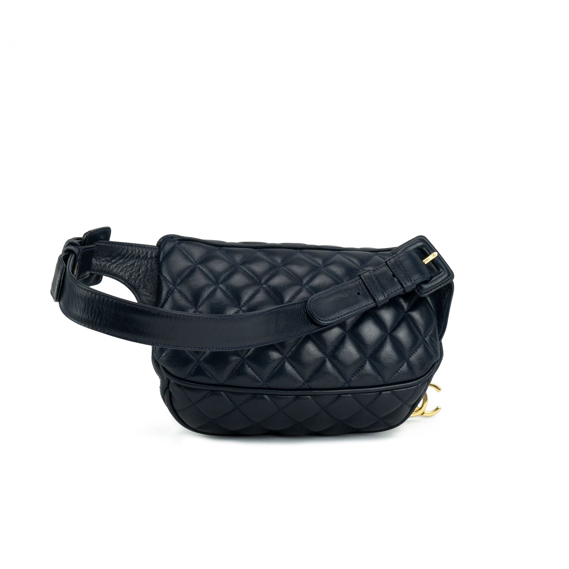 Chanel Navy Quilted Lambskin Vintage Fanny Pack