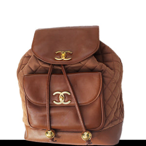 Chanel XL Cognac Brown Backpack