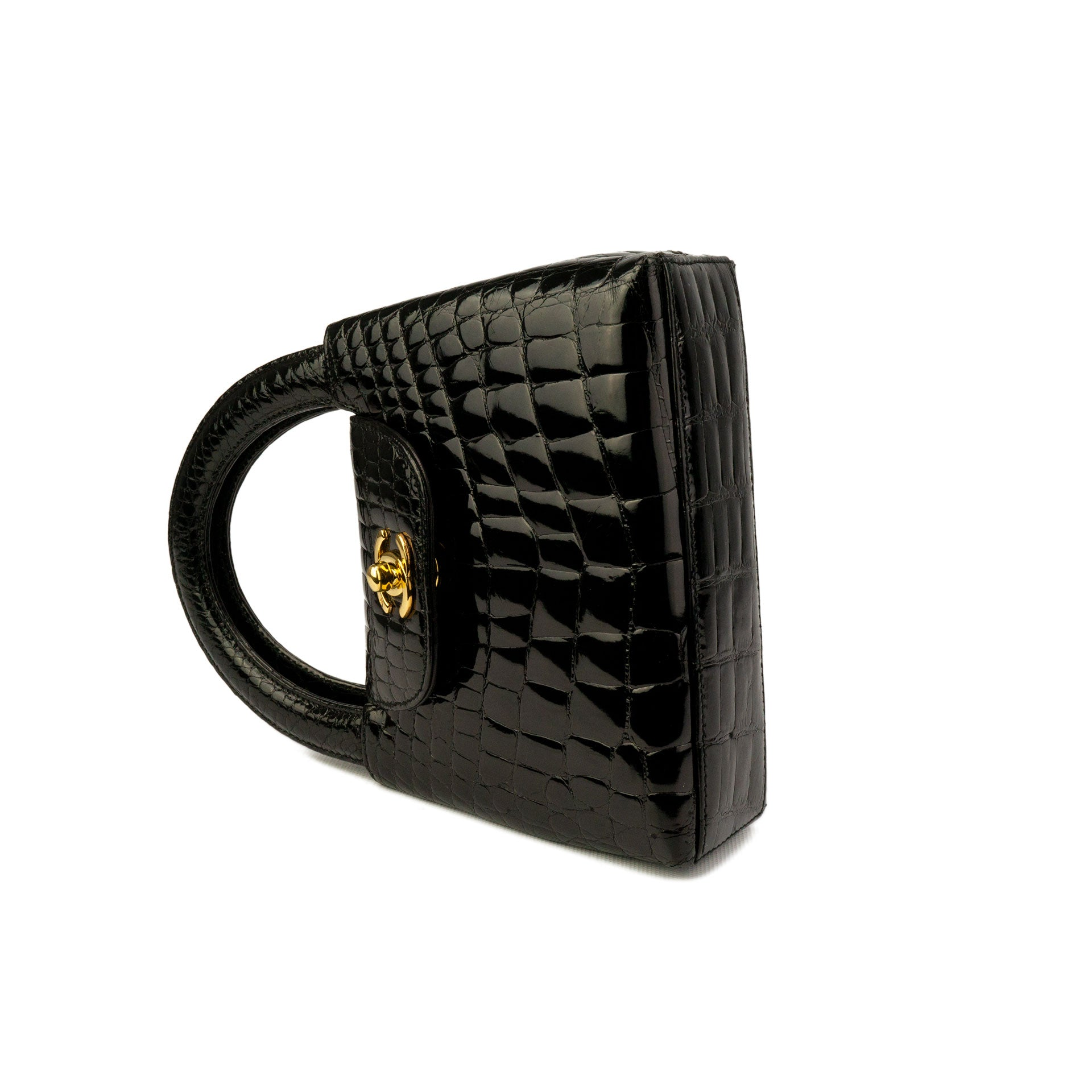 Chanel Black Crocodile Vintage Micro Mini Kelly Clutch