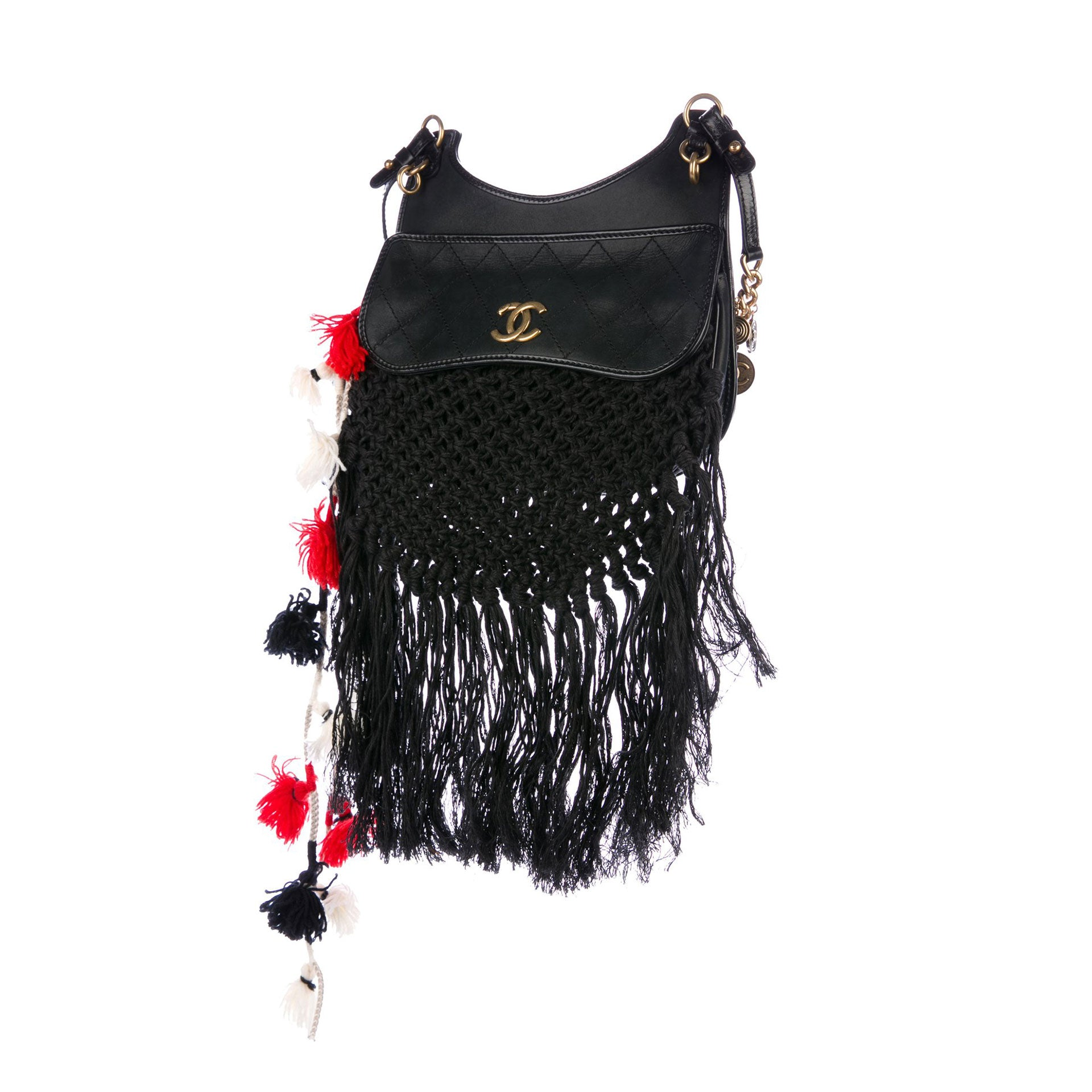 Chanel Dubai Resort Runway Fringe Crochet Pom Pom Bag