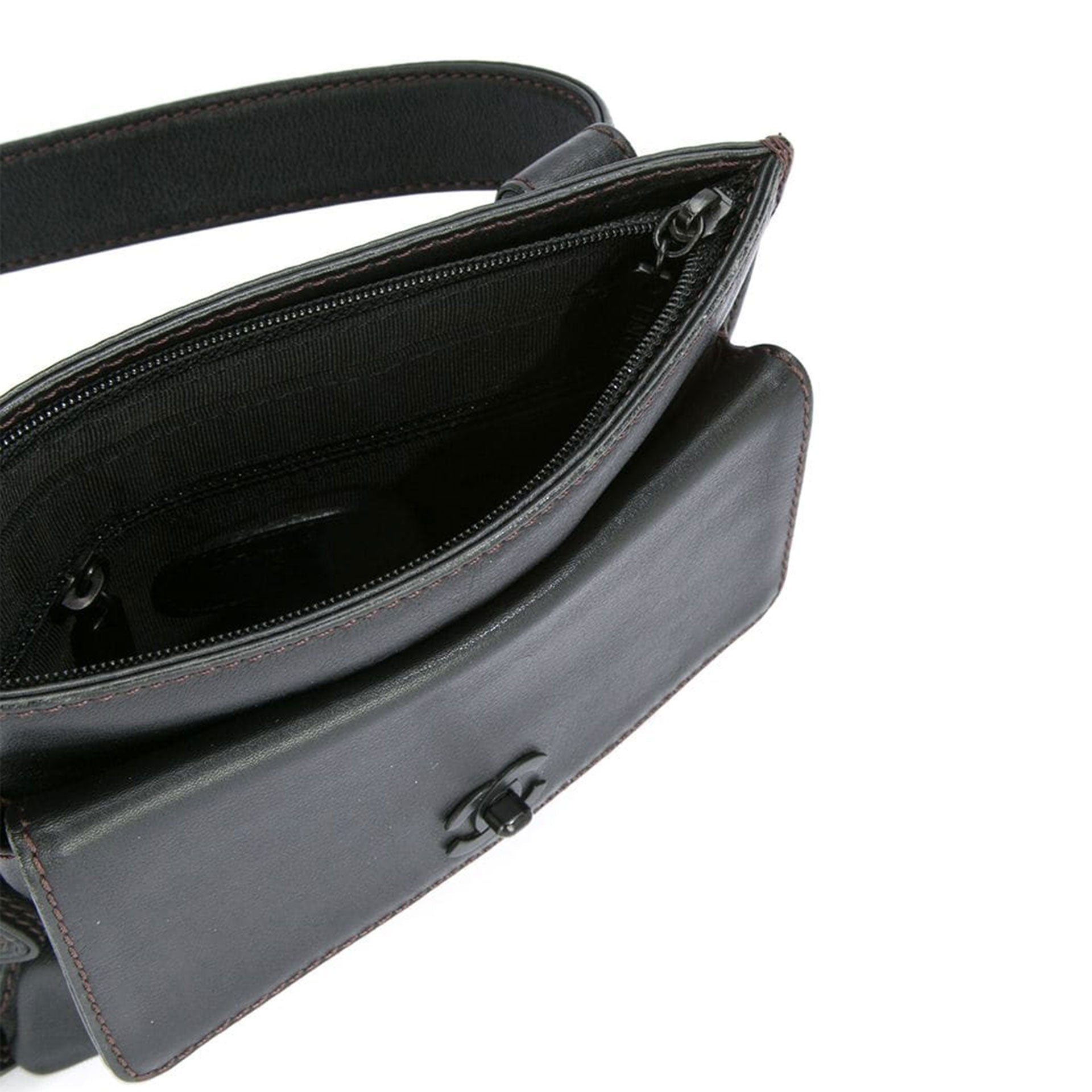 Chanel So Black Top Zip Waist Belt Bag Fanny Pack