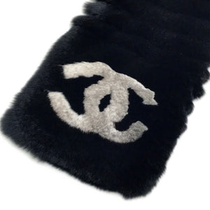Chanel Black Fur Logo CC Long Neck Scarf