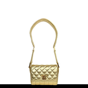 Chanel Metallic Gold Micro Mini Classic Flap