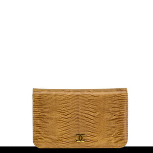 Chanel Caramel Exotic Lizard Shoulder Flap Convertible Clutch