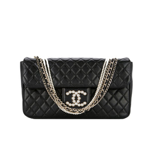 Chanel Lambskin Diamond Stitch Pearl Chain Handle Classic Flap