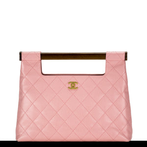 Chanel Baby Pink Caviar Quilted Clutch Wood Handle Tote