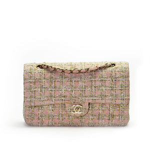 Chanel Pink and Green Tweed Classic Flap Bag