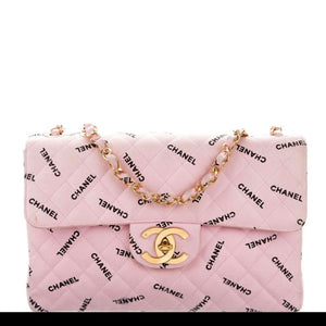 Chanel Jumbo Pink Logo Letters Canvas Classic Flap Bag
