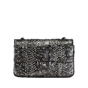 Chanel Charcoal Grey Sequin Python Medium Classic Double Flap