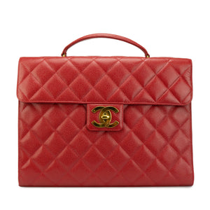 Chanel Red Caviar Vintage Briefcase