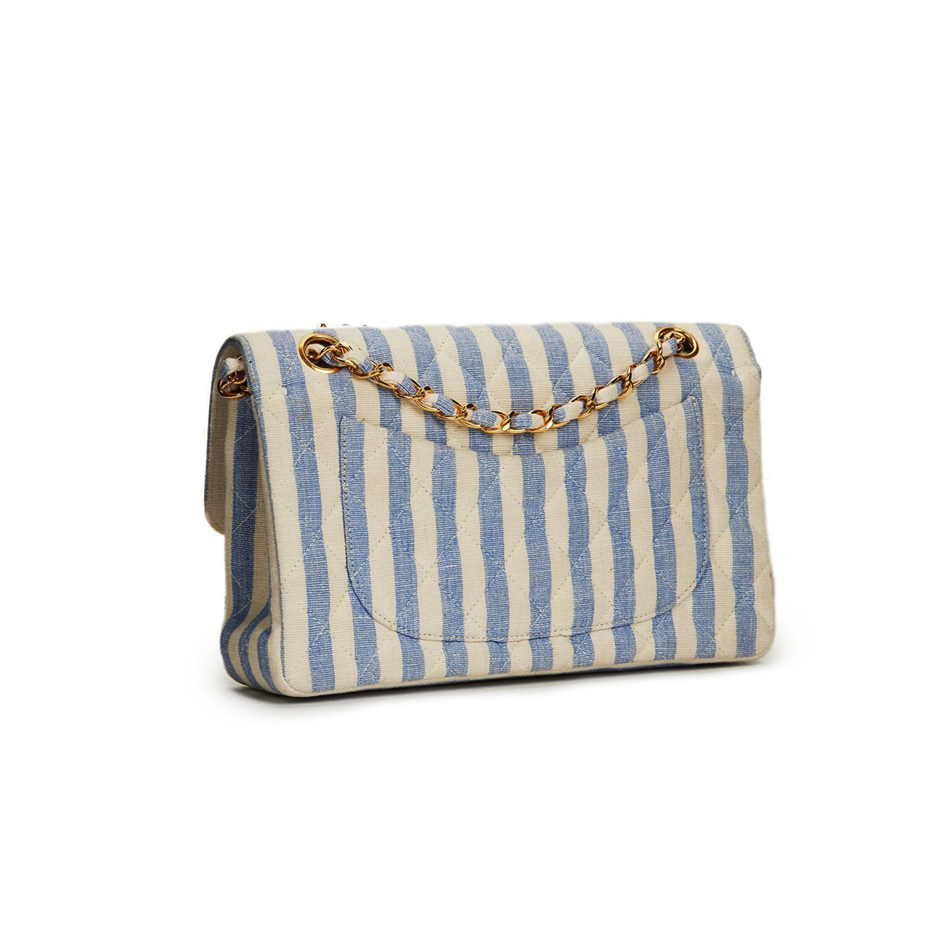 Chanel Classic Flap Vintage Striped White Linen & Cotton Shoulder Bag