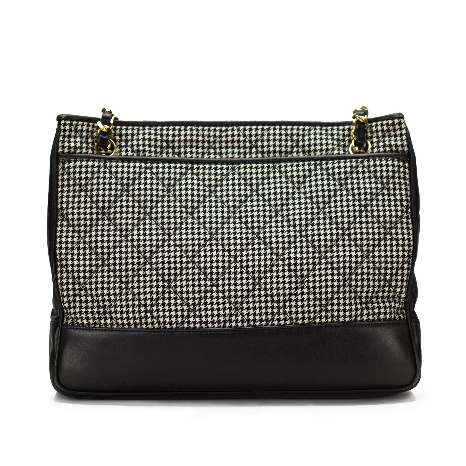Chanel Quilted Wool Houndstooth Lambskin Camera Tote