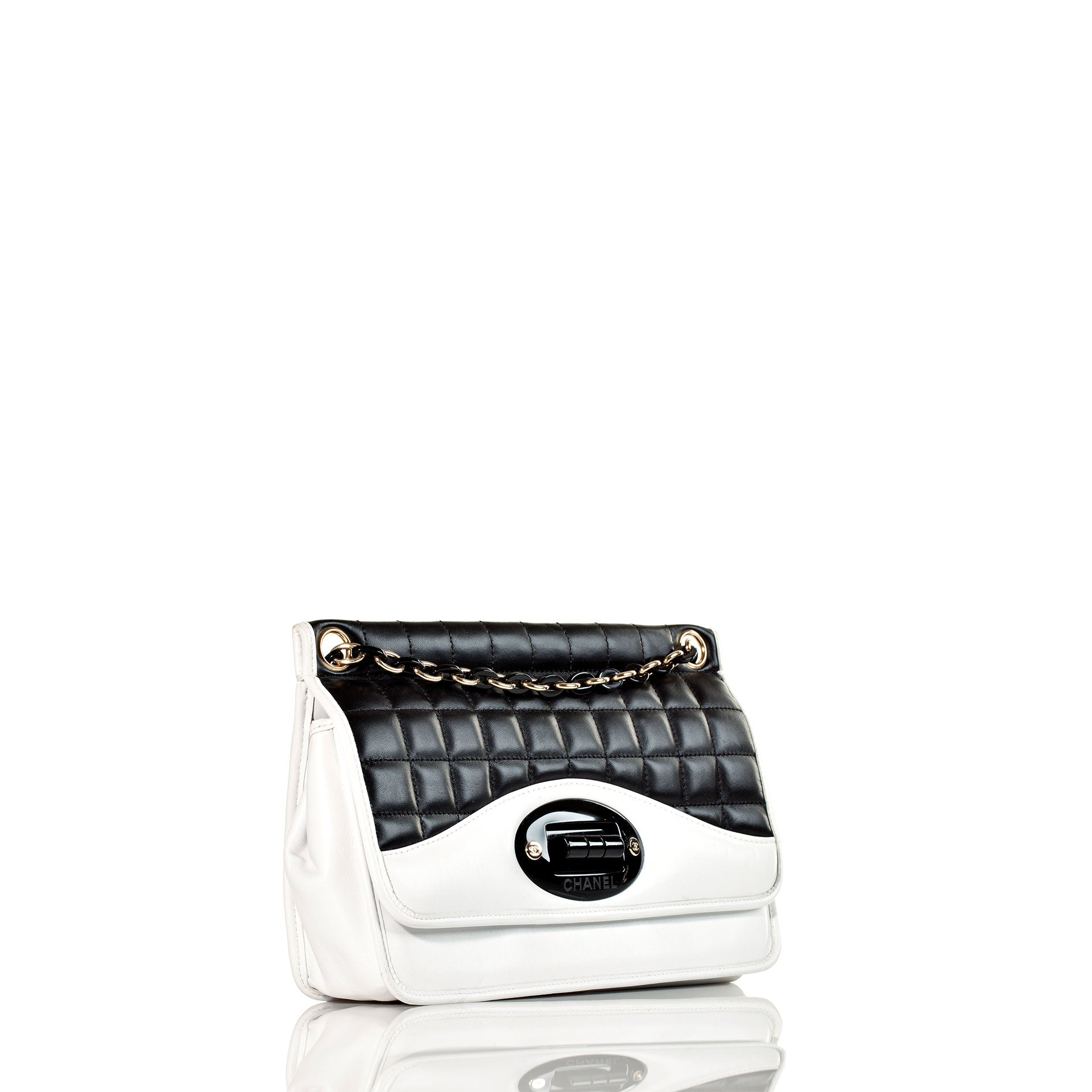 Chanel Two Tone Black and White Mademoiselle Flap Bag