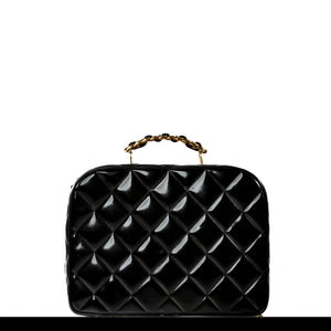 Chanel Vintage 1990's Black Quilted Patent Vanity Shoulder Bag