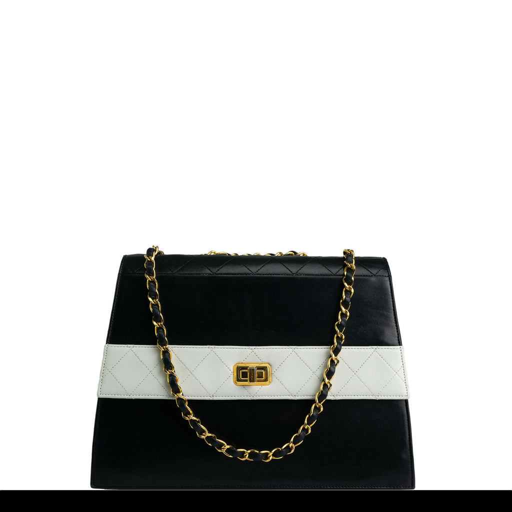 Chanel  Two Tone Black and White Vintage Flap Bag
