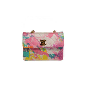 Chanel Rare Micro Mini Painted Watercolor Classic Flap Bag