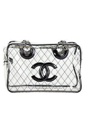 c17ac2c59ed2 Chanel XL Transparent Naked See Through Vintage Tote – House of Carver