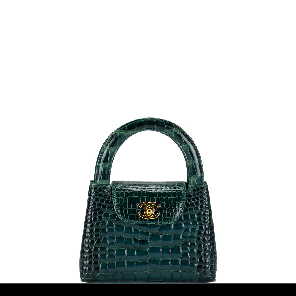 Chanel Green Crocodile Alligator Vintage Mini Minuadiére Kelly Top Handle Bag