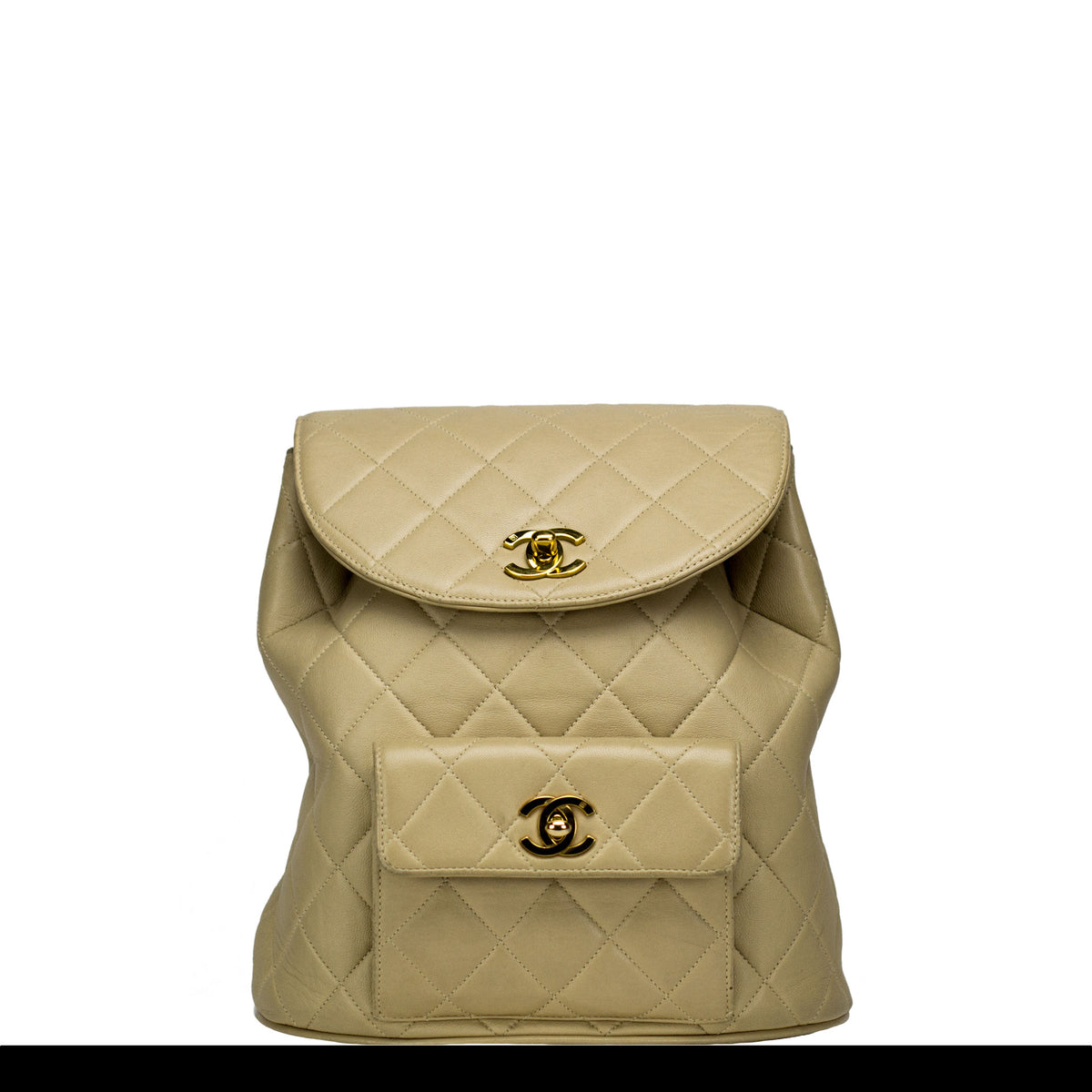 e541a23f1b9c Chanel Beige Quilted Lambskin Vintage Backpack – House of Carver
