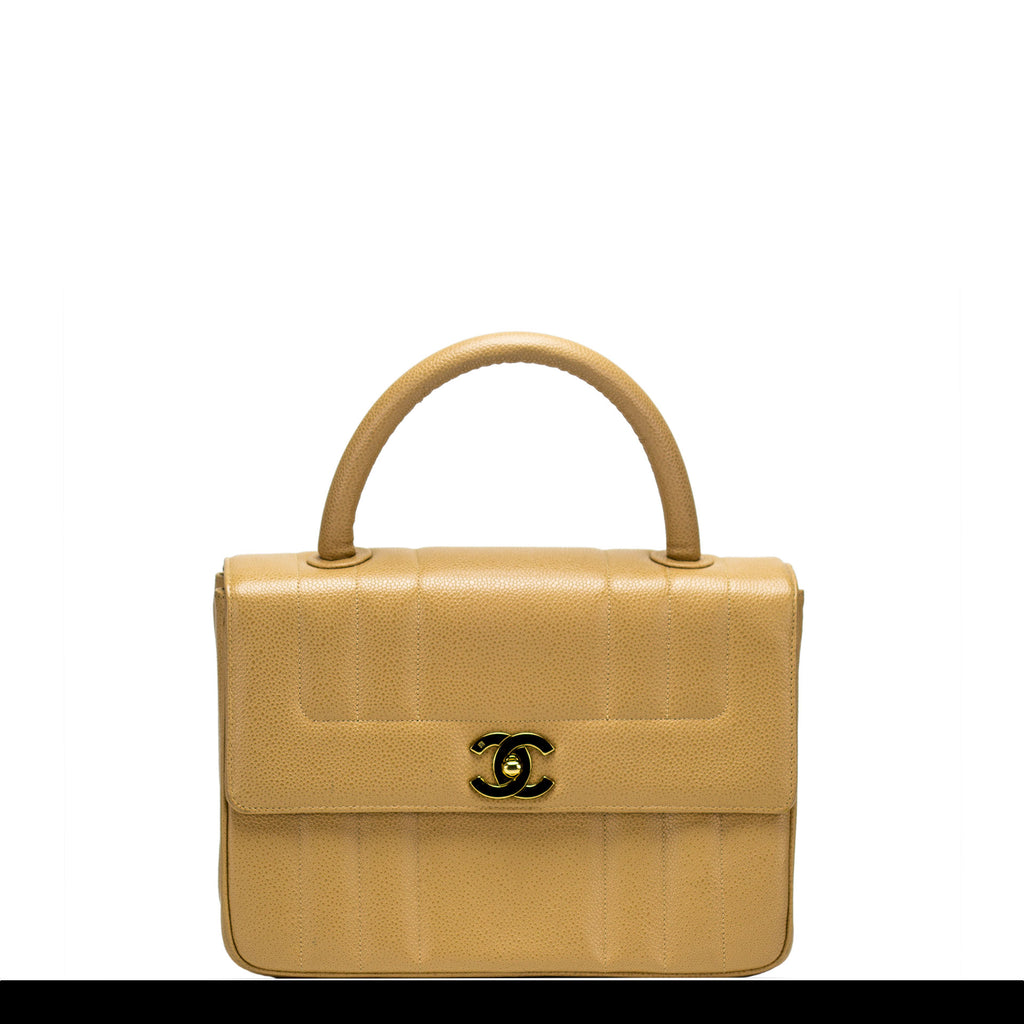 Chanel Beige Caviar Classic Handle Flap