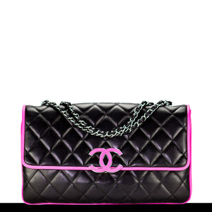 Chanel Jumbo Cruise Black & Pink Lamb Flap