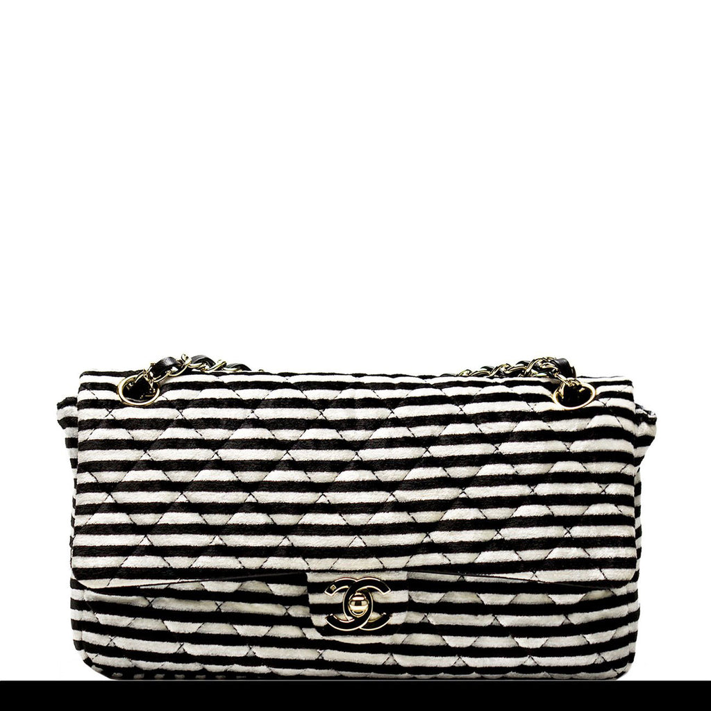 Chanel Striped Classic Black and White Flap