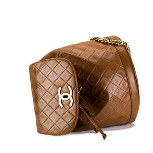 Chanel Cognac Lambskin Quilted Vintage Backpack