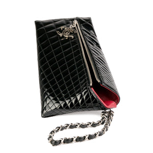 Chanel Patent Quilted Charm Gala Clutch