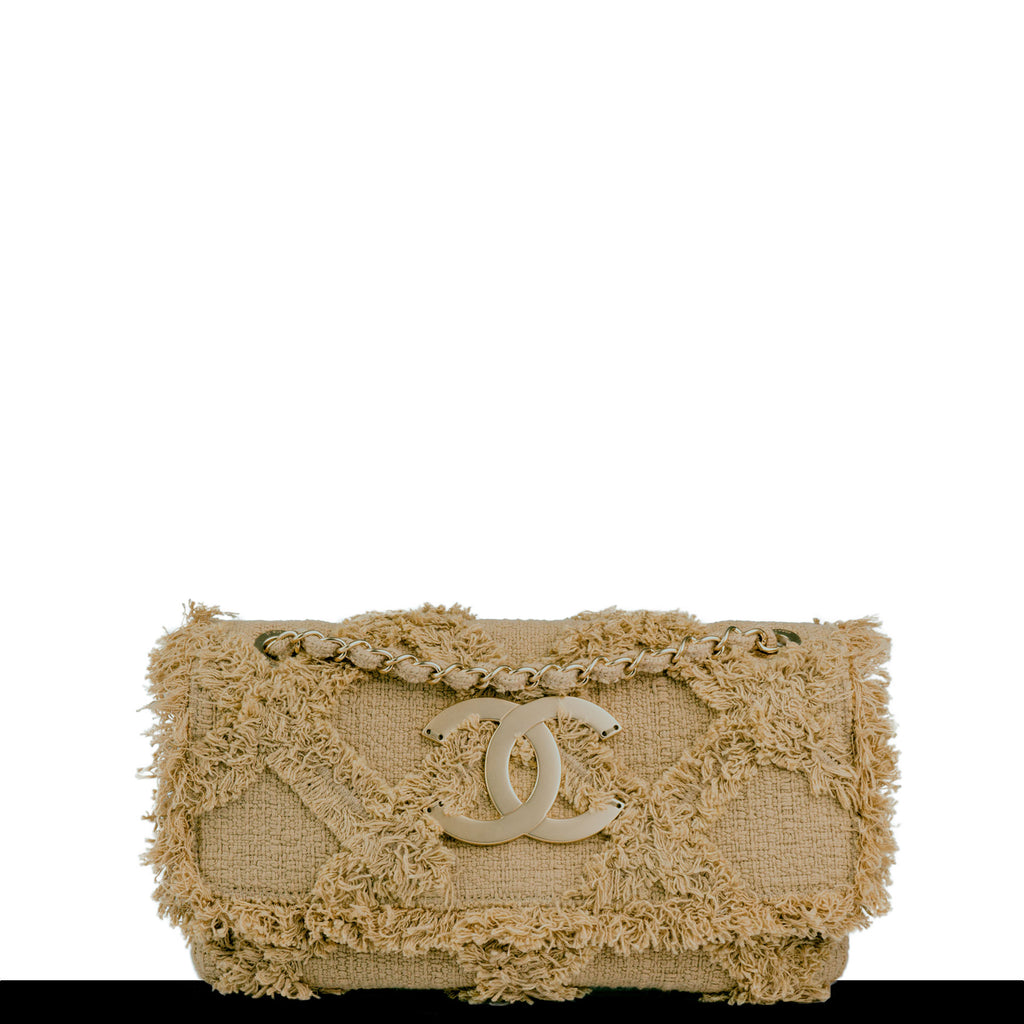 Chanel Small Crochet Organic Fringe Nature Tweed Flap