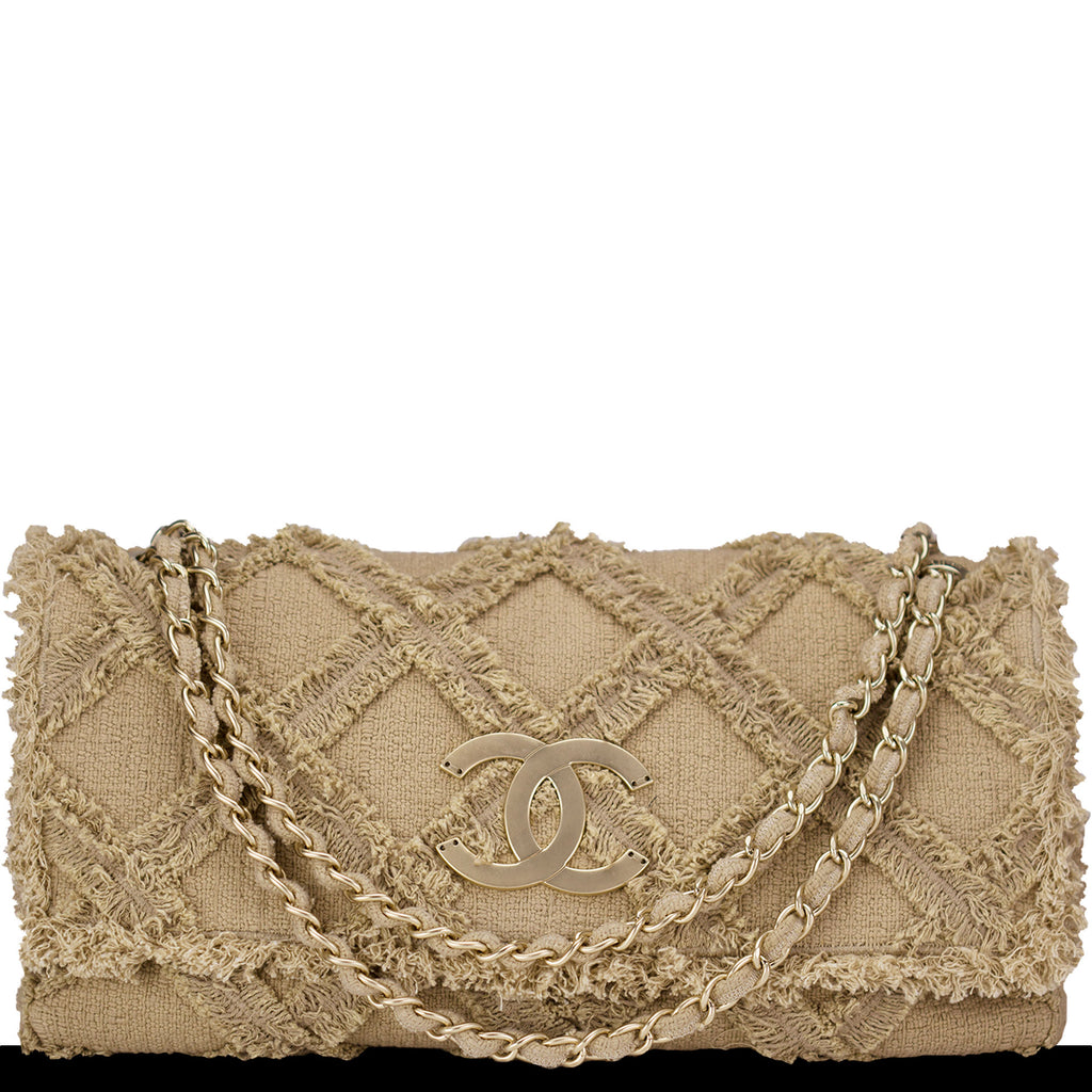 Chanel Natural Tweed Crochet Beige Extra Large Limited Edition Jumbo Flap