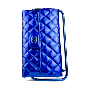 Chanel Classic Flap Patent Blue Frame Clutch