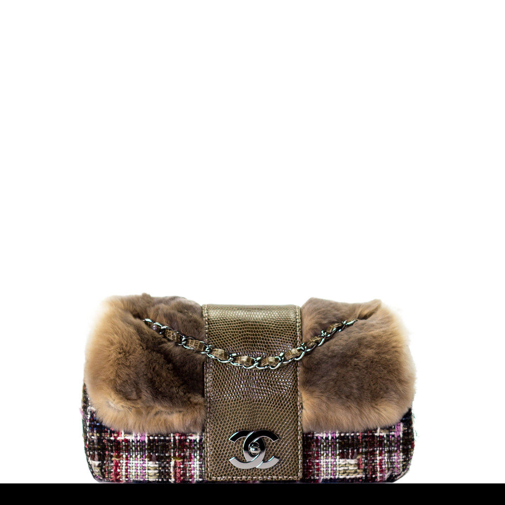 Chanel Fur and Tweed Exotic Classic Small Flap