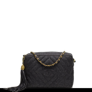 Chanel Grey Logo Quilted Wool Tassel Tote