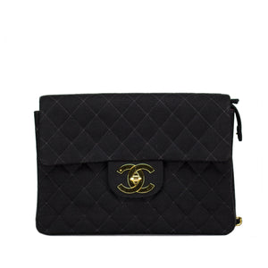 Chanel Canvas Quilted Cloth Jumbo Classic Flap Backpack