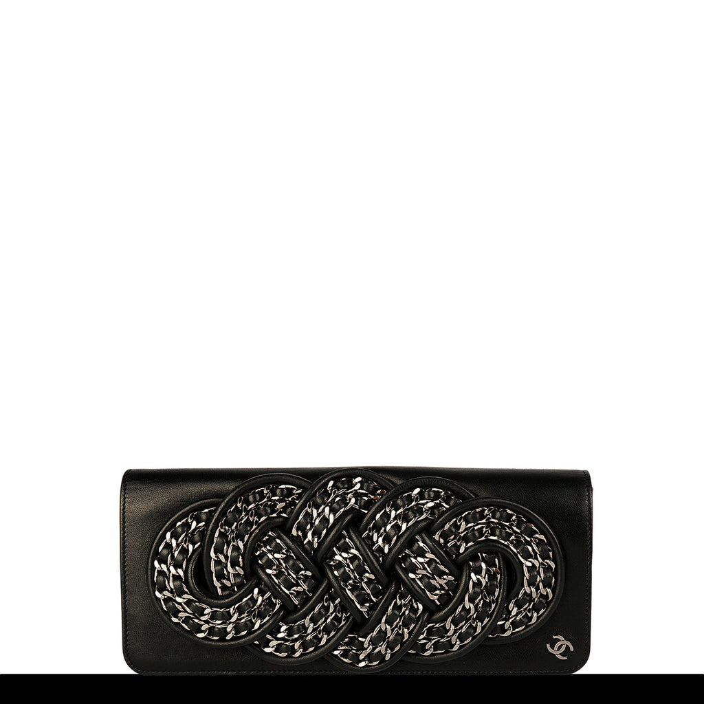 Chanel Knotted Signature Chain Lambskin Clutch