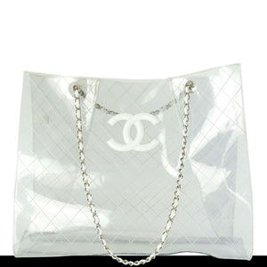 Transparent and Lambskin Leather Naked XXXL Tote
