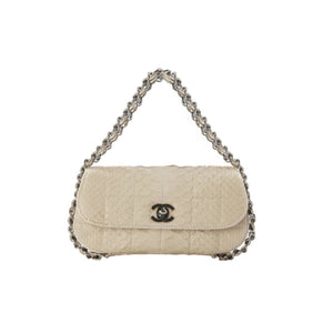 Chanel Micro Mini Beige Python Chain Around Clutch Flap