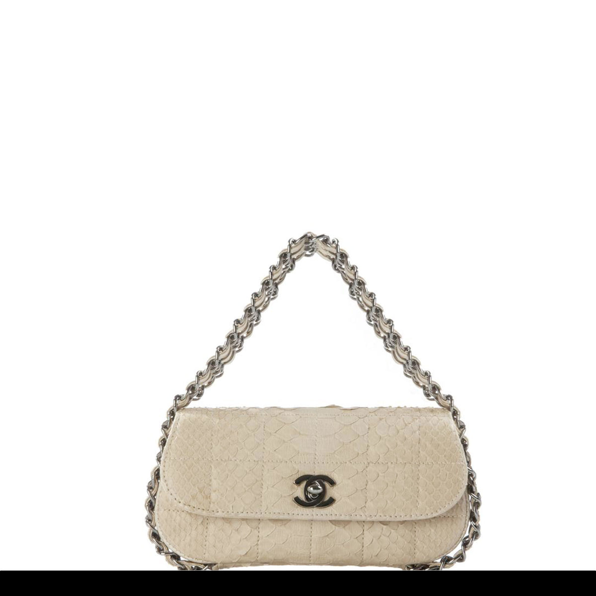 83767c029f62 Chanel Micro Mini Beige Python Chain Around Clutch Flap – House of Carver