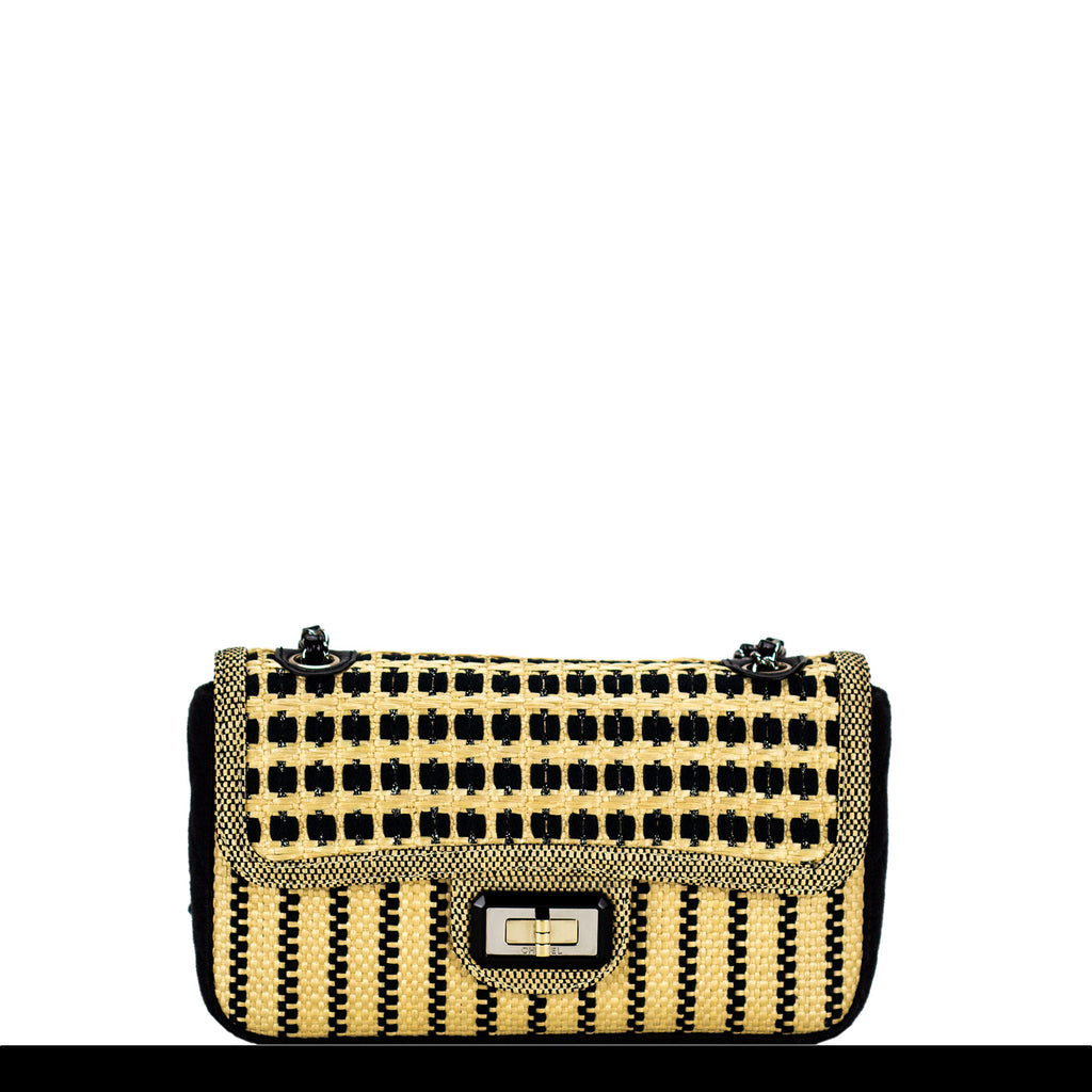 Chanel Raffia Patent Crossbody Flap