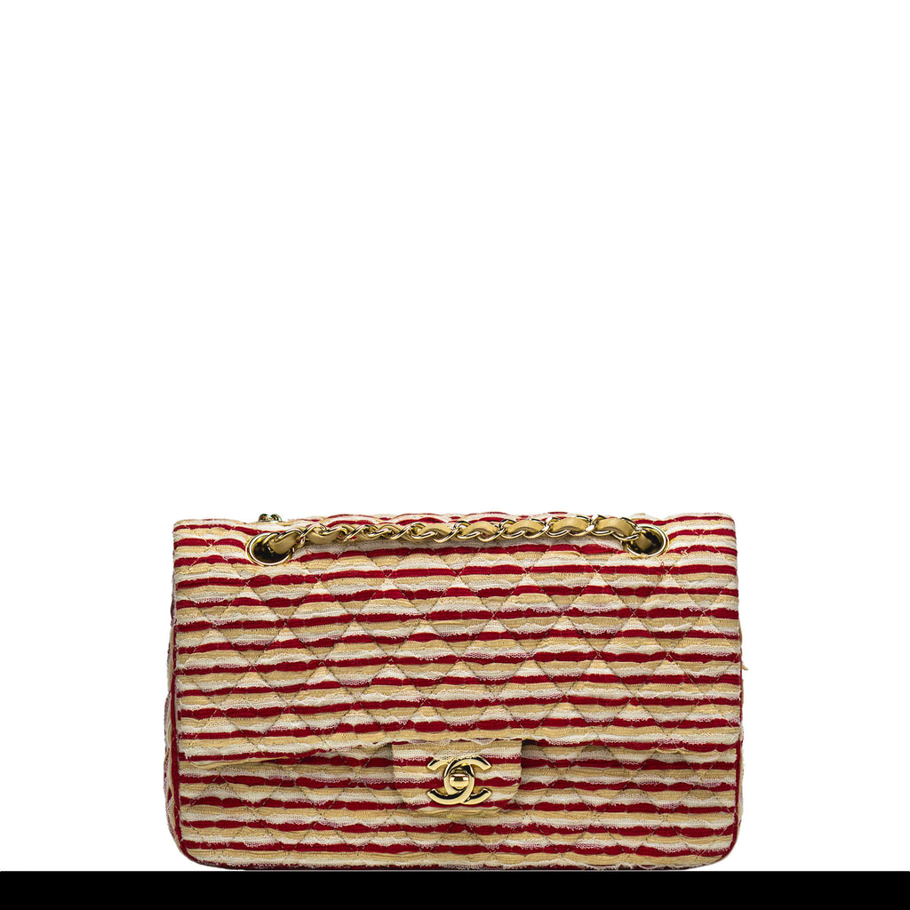 Chanel Red and Beige Striped Classic Flap
