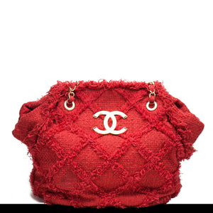 Chanel Soft Woven Red Tweed Crochet Tote