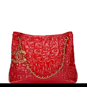 Chanel Red Puzzle Piece Patent Red Tote