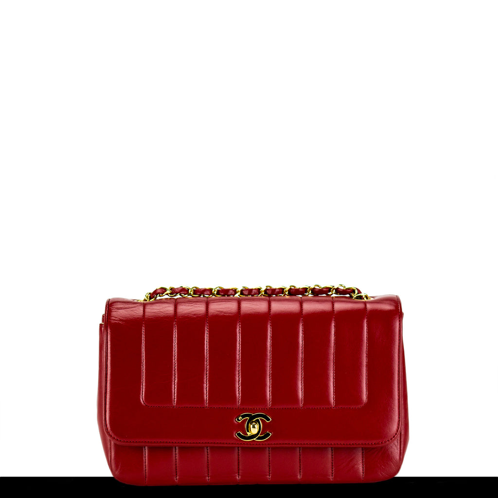 Chanel Red Vintage Lambskin Lady D Classic Flap