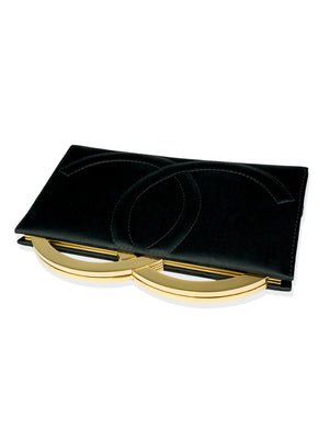 Chanel Gold Logo Letter Satin Gala Clutch