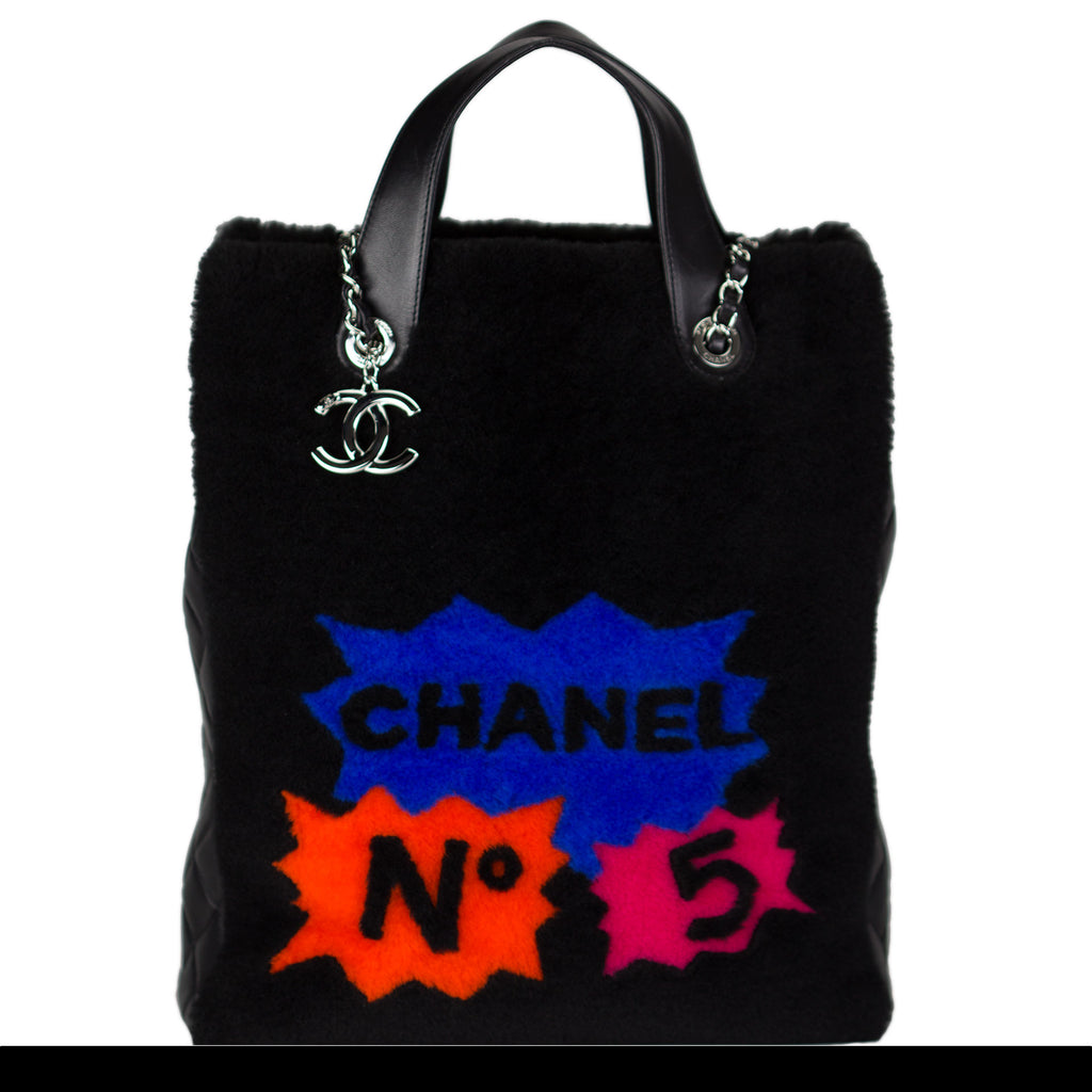 Shearling Lamb Quilted Pop Art Graffiti Tote